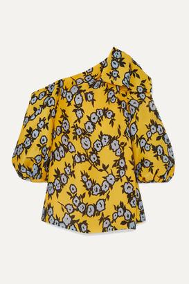 Carolina Herrera One-shoulder Floral-print Silk-organza Mini Dress - Yellow
