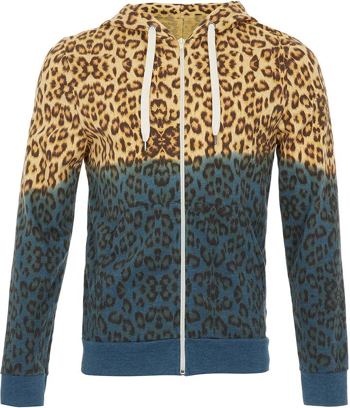 Topman Yellow and Blue Leopard Dip Dye Hoody