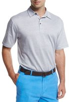 Peter Millar Linen-Blend Short-Sleeve Polo Shirt, Gray