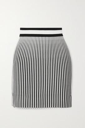 Off-White Striped Ribbed-knit Mini Skirt