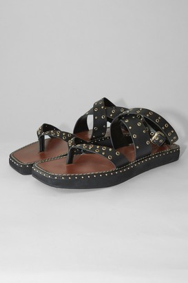 Topshop POWER Black Leather Studded Sandals