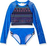 Jessica Simpson Big Girls' Long Sleeve Rash Guard Two Piece Swimsuit Set