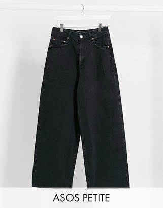 ASOS DESIGN Petite High rise 'relaxed' dad jeans in washed black