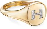 David Yurman Mini DY Initial H Pinky Ring in 18K Yellow Gold with Diamonds, Size 4