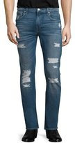 7 For All Mankind Paxtyn Forgotten Cove Distressed Denim Jeans, Blue
