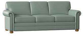 "Omnia Leather Athens 90"" Rolled Arm Sofa Body Fabric: Empire Aqua, Leg Color: Honey Oak, Nailhead Detail: Medium Antique Touching"