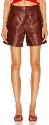 Ganni Lamb Leather Shorts in Decadent Chocolate | FWRD