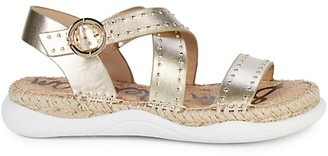 Sam Edelman Janette Metallic-Leather Espadrille Walking Sandals