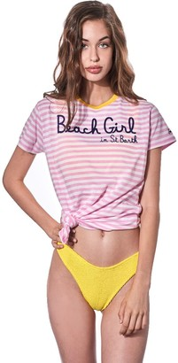 MC2 Saint Barth Pink Striped T-shirt With Embroidered Beach Girl