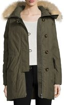 Peuterey Hooded Fur-Trim Parka, Olive