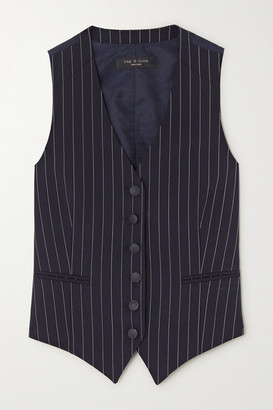 Rag & Bone Vanessa Pinstriped Wool-blend Vest - Navy
