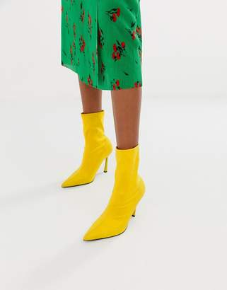 Asos Design DESIGN Esme pointed heeled sock boots-Yellow