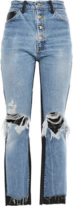 Amiri Cropped Leather-paneled Distressed High-rise Straight-leg Jeans