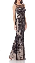 JS Collections Women's Mesh Mermaid Gown