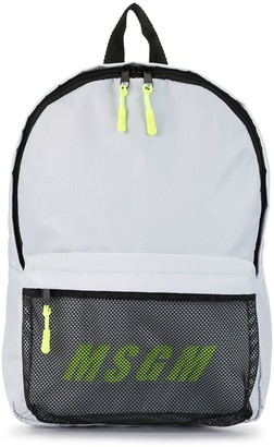 MSGM Panelled Logo Print Backpack