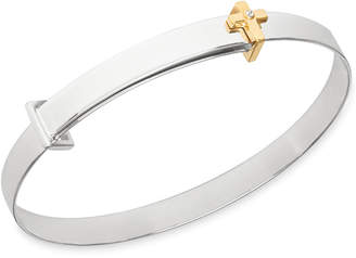 My Very Own Diamond Children Diamond Accent Cross Expander Bangle Bracelet in Sterling Silver and 14K Gold over Sterling Silver