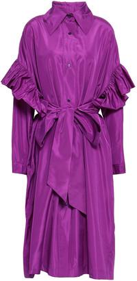 Stella McCartney Ruffle-trimmed Taffeta Midi Dress
