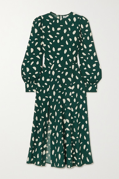 Reformation Creed Printed Crepe Midi Dress - Green