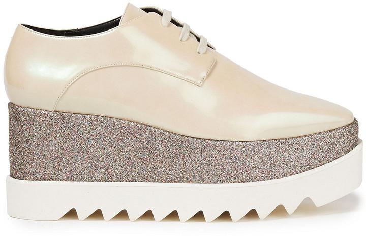 Stella McCartney Faux Mirrored Leather Platform Brogues
