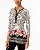 JM Collection Petite Printed Embellished Top, Only at Macy's