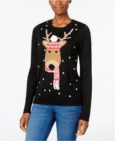 Karen Scott Petite Reindeer Holiday Sweater, Only at Macy's