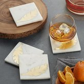 Crate & Barrel Set of 4 Gold Leaf and Marble Coasters