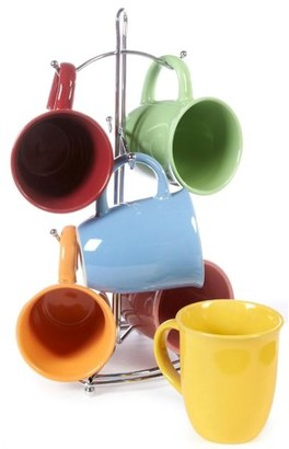 Gibson set of 6 Color Coffee Mugs and Convenient Wire Rack