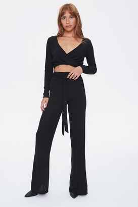 Forever 21 Ribbed Crop Top Pants Set