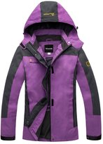 Wantdo Women's Water Resistant Windbreakers Rainproof Hoodie Jacket(US L)