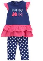 Bon Bebe Purple & Pink Bows Dress & Leggings