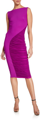 Chiara Boni Sleeveless Ruched Illusion Inset Dress