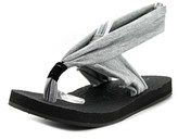 Rampage Rebecky Women Open Toe Canvas Gray Thong Sandal.