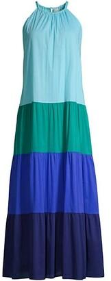 Zara Color Block Tiered Maxi Dress