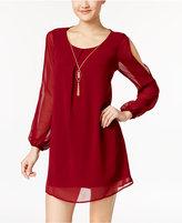 As U Wish Juniors' Split-Sleeve Shift Dress with Necklace