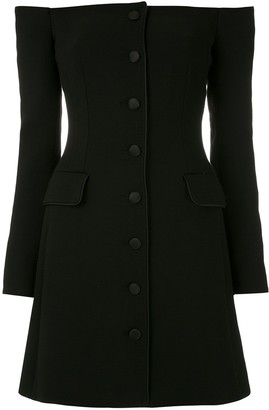 Dolce & Gabbana Off-Shoulder Button-Up Mini Dress