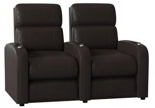 Latitude Run Home Theater Row Seating (Row of 2 Body Fabric: Luxe Polar, Reclining Type: Manual