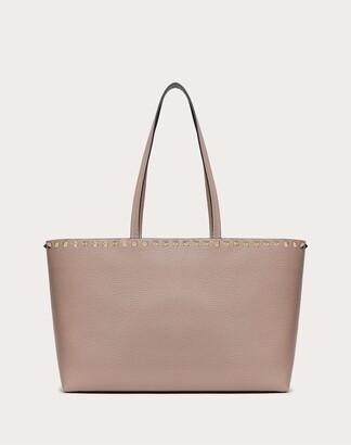Valentino Small Rockstud Grainy Calfskin Shopper Women Poudre Calfskin 100% OneSize