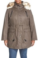 Laundry by Shelli Segal Plus Size Women's Faux Fur Trim Parka