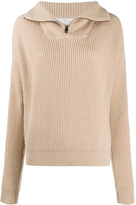 Tela Ribbed-Knit Stand-Up-Collar Jumper