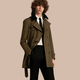 Burberry Shearling Topcollar Cotton Gabardine Trench Coat with Warmer