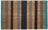 J & M Home Fashions Vinyl Back Coco Doormat, 18 by 30-Inch, Blue Stripes