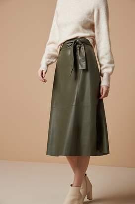 Next Womens Khaki PU Leather Look Skirt - Green