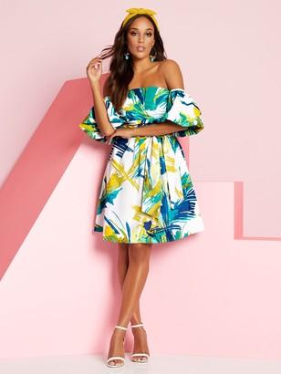 New York & Co. Puff-Sleeve Poplin Shift Dress