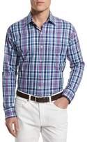 Peter Millar Multi-Plaid Long-Sleeve Sport Shirt, Blue