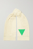 Thumbnail for your product : Bottega Veneta Leather-trimmed Cable-knit Wool Scarf - Off-white