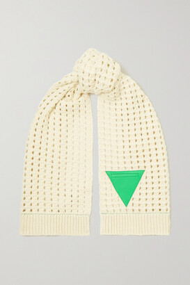 Bottega Veneta Leather-trimmed Cable-knit Wool Scarf - Off-white