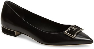 Tory Burch Gigi Crystal Logo Pointed Toe Flat