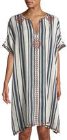 Tory Burch Awning Striped Linen Caftan Coverup
