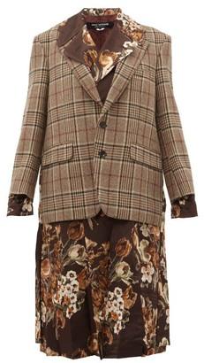 Junya Watanabe Checked And Floral-print Layered Jacket - Womens - Brown Multi