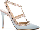 Valentino Rockstud Leather Slingbacks T.100 in Blue.